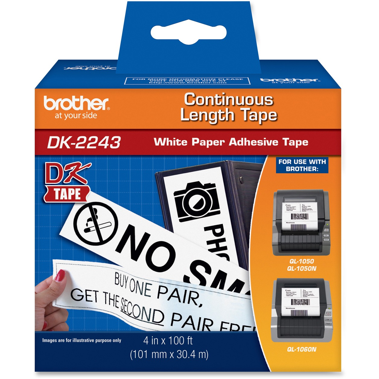 """Brother Continuous Length Shipping Label Tape for QL-1050, 4"""" x 100 ft Roll, White"""
