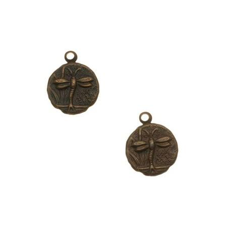 Vintaj Natural Brass Round Teensie Dragonfly Charm Beads 9.5mm (2) Brass Beads & Charm Necklace
