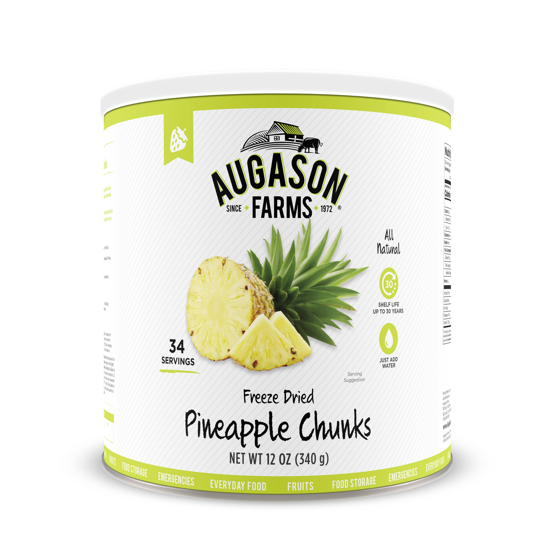 Augason Farms Freeze Dried Pineapple Chunks 12 oz No. 10 Can