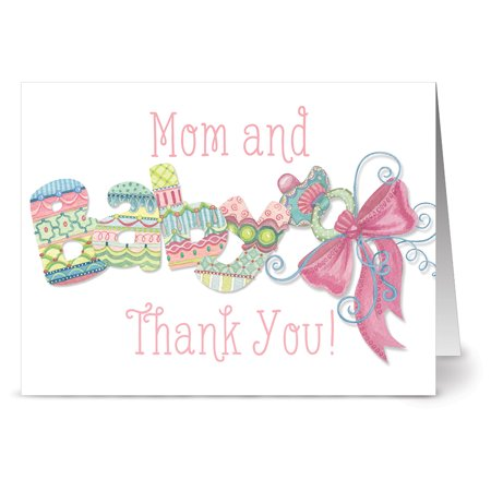 Pink Baby Bank (24 Note Cards - Mom and Baby Thank You Pink - Blank Cards - Hot Pink Envelopes Included )