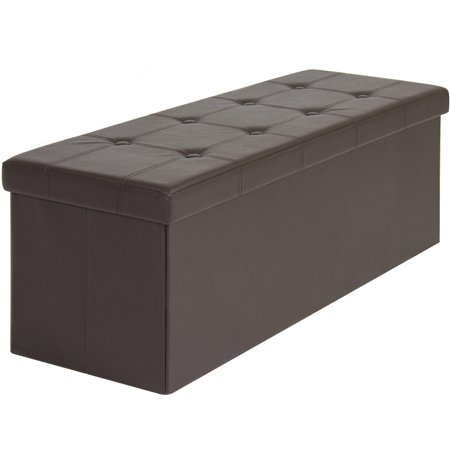 faux leather folding storage ottoman large brown bench foot rest stool (Italian Leather Seating)