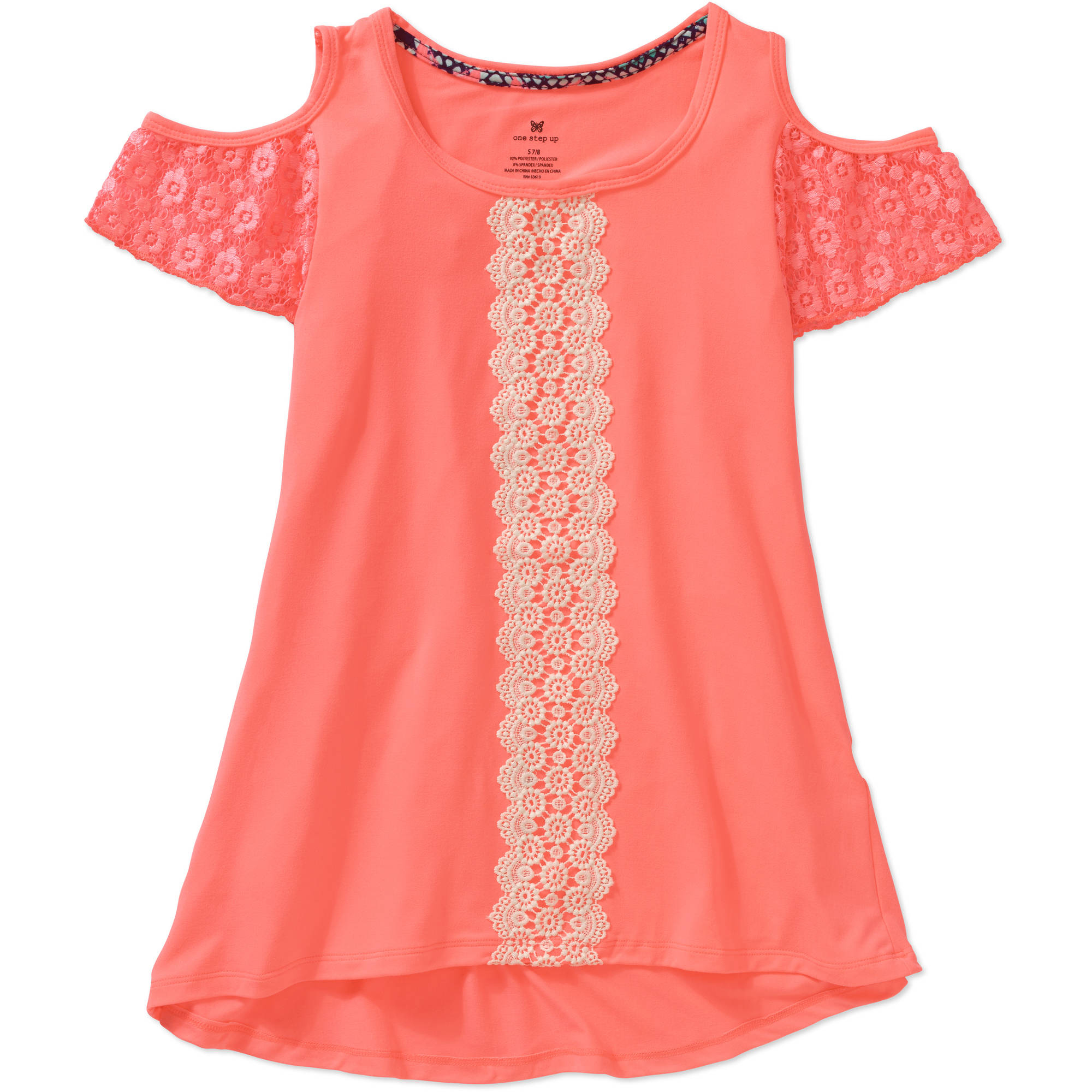 One Step Up Little Girls' Fashion Mix Cold Shoulder Lace Sleeve Tunic Top with Crochet Trim