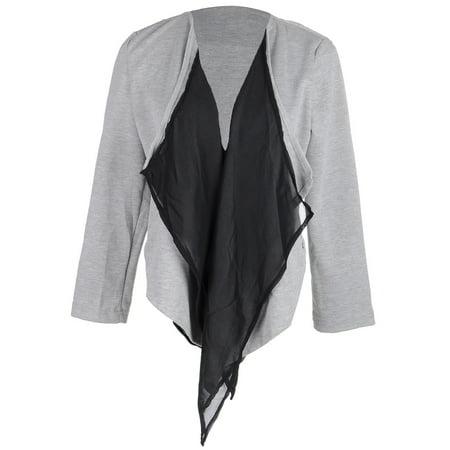 S/M Fit Black Collar Grey Long Sleeve Zipped Side Pocket Jacket