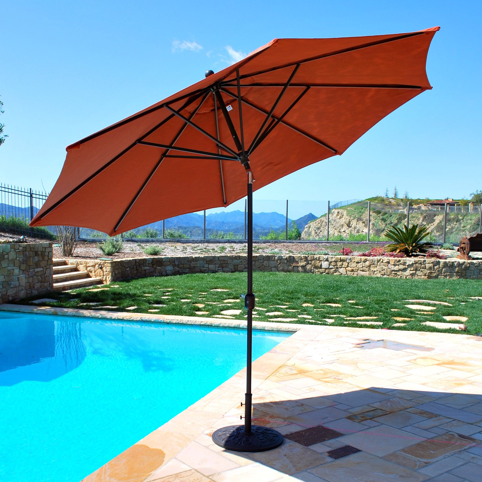 galtech sunbrella 11ft maximum shade deluxe aluminum auto tilt patio umbrella walmartcom