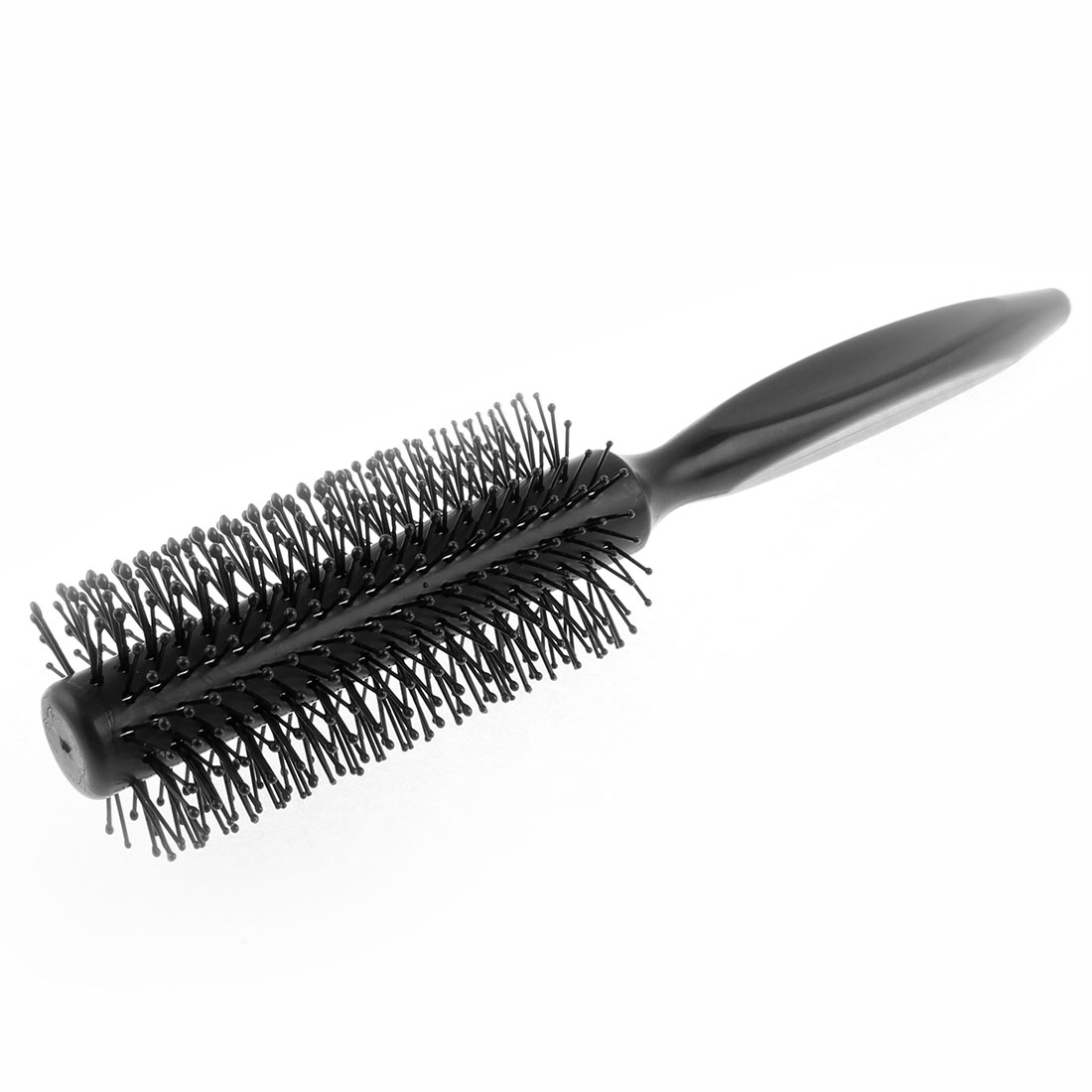 Lady Plastic Triangle Handle Radial Curly Hair Roll Brush Black 21cm Long