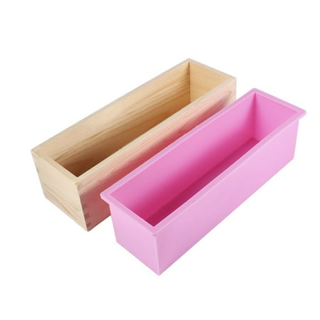 Silicone Liner Soap Mould With Wooden Box Rectangle Soap Mold DIY Making Tool Candle Cake Bake Mold