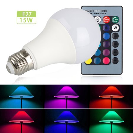 LED Color Changing Light Bulb Dimmable, E27 RGB LED Light Bulbs with IR Remote Control for Living Room Dinning Room Decoration Bar Party KTV Mood