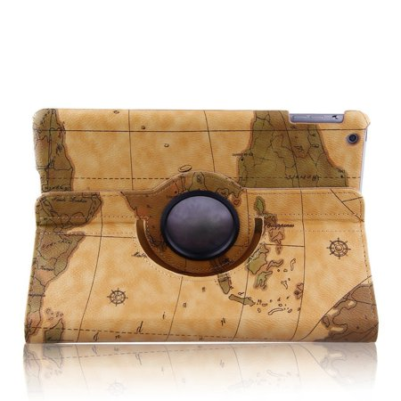 360 Degree World Map.Auto Sleep Wake Function 360 Degree Rotating Smart Case Cover For