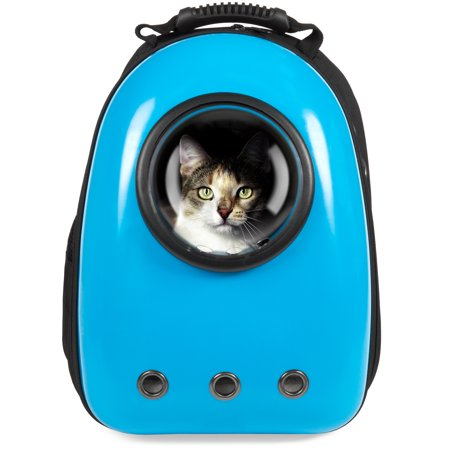 Best Choice Products Pet Carrier Space Capsule Backpack, Bubble Window Lightweight Padded Traveler for Cats, Dogs, Small Animals w/ Breathable Air Holes - Blue - Bubble Back Pack