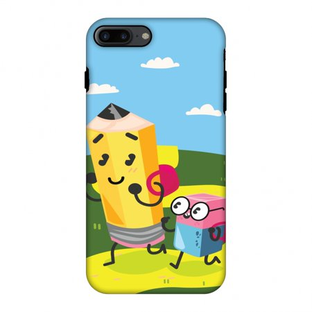 iPhone 7 Plus CasePremium Handcrafted Designer Shockproof Dual Layer Protection Cover Printed Hard Back Case With Screen Cleaning Kit for iPhone 7 Plus-Cute Pencil & Eraser](Iphone Eraser)