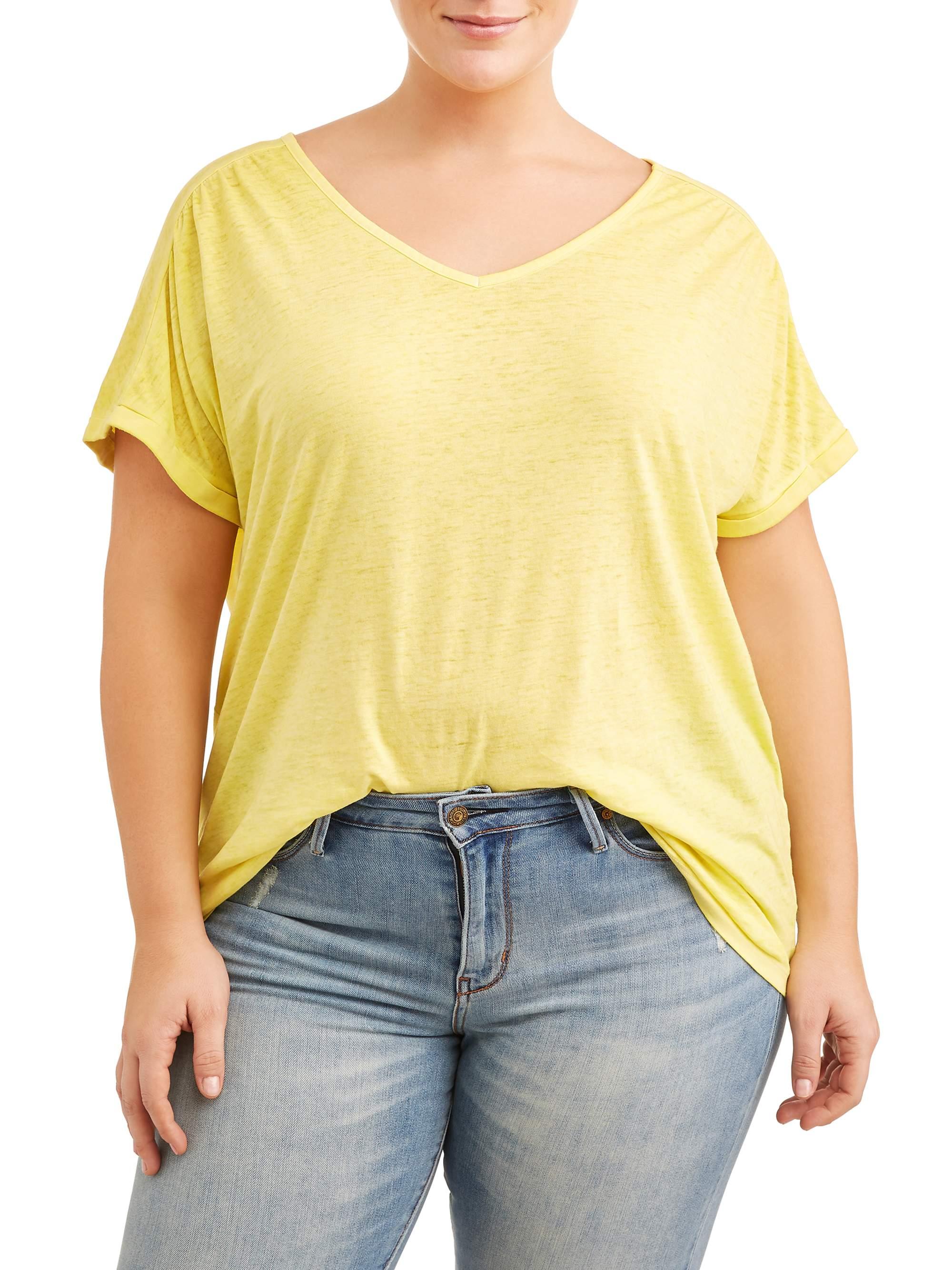 Women's Plus Size Cap Sleeve Tee