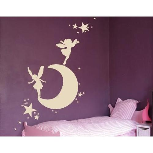 Moon with Elves Wall Decal 31in x 17in Black