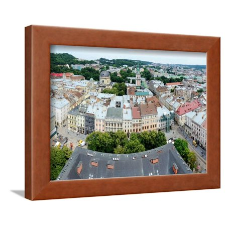 Halloween Town City Hall (Panorama of Lvov Old Town and with Market Square from the City Hall Tower, Western Ukraine Framed Print Wall Art By)