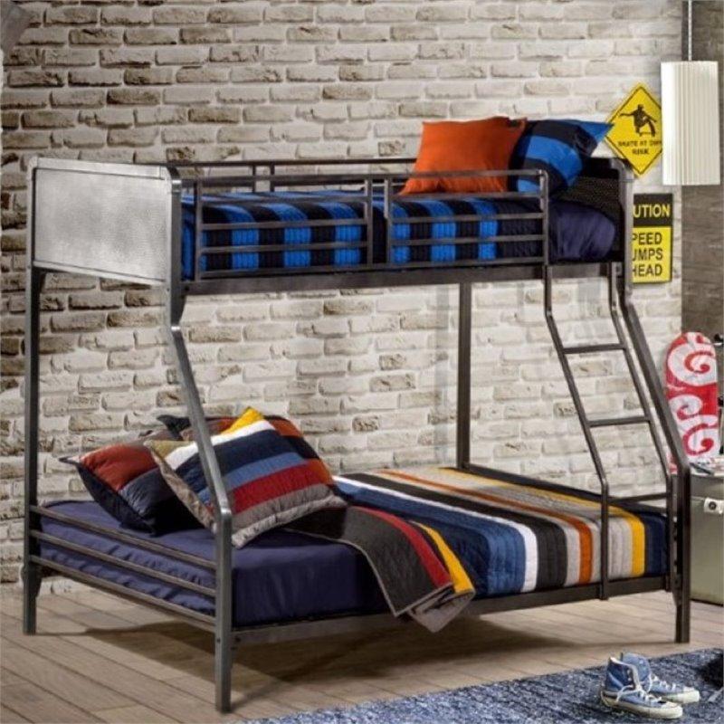 Rosebery Kids Twin Over Full Bunk Bed in Black Steel