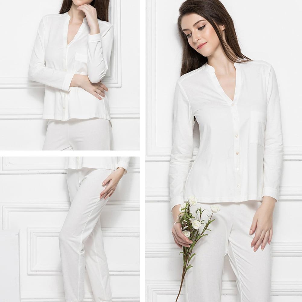 Women's Full Length Sleepwear Long Sleeves Pajama Set Wit...