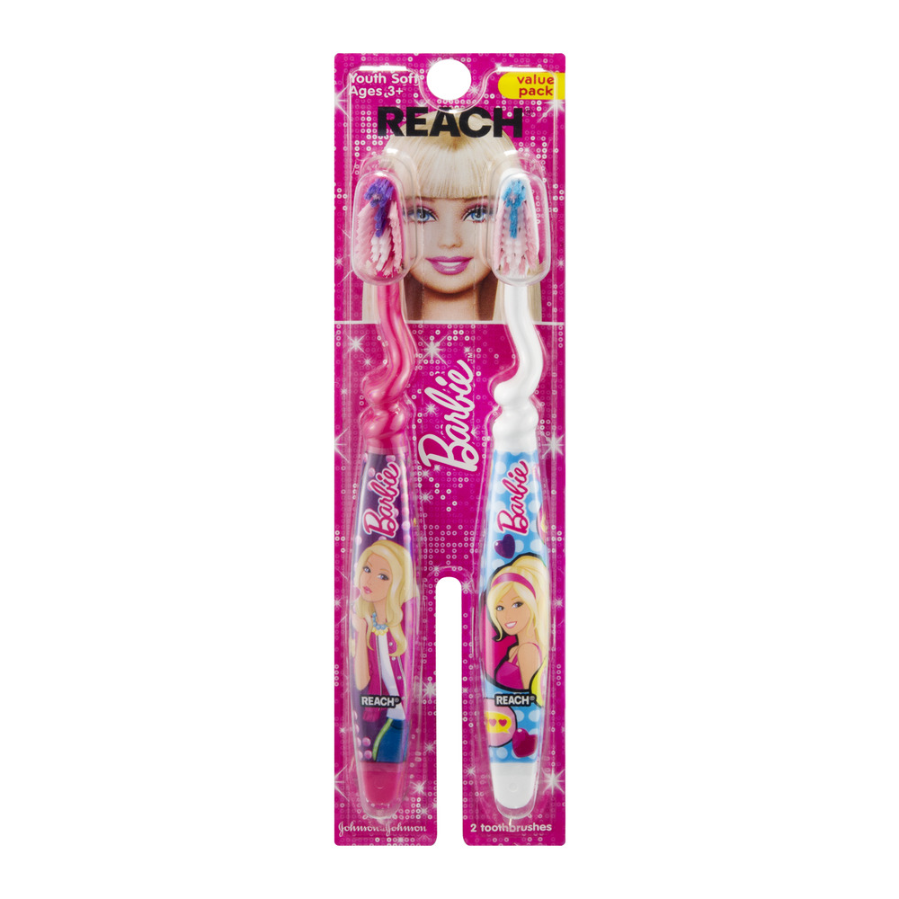Reach Barbie Toothbrush Youth Soft Ages 3+ - 2 PK, 2.0 CT