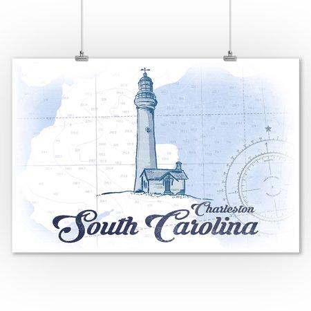 Charleston, South Carolina - Lighthouse - Blue - Coastal Icon - Lantern Press Artwork (9x12 Art Print, Wall Decor Travel Poster)