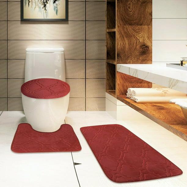 S Burgundy 3pc Bathroom Set Bath Mat
