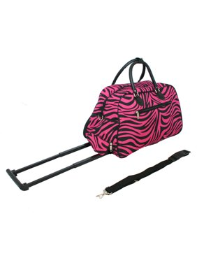 All-Seasons 8136122021T-B-F 21 in. Vacation Deluxe Carry-On Rolling Duffel Bag, Pink Fuchsia Zebra