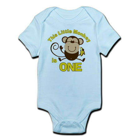 Little Monkey 1St Birthday Boy Infant Bodysuit - Baby Light Bodysuit (Sock Monkey Baby Boy Clothes)