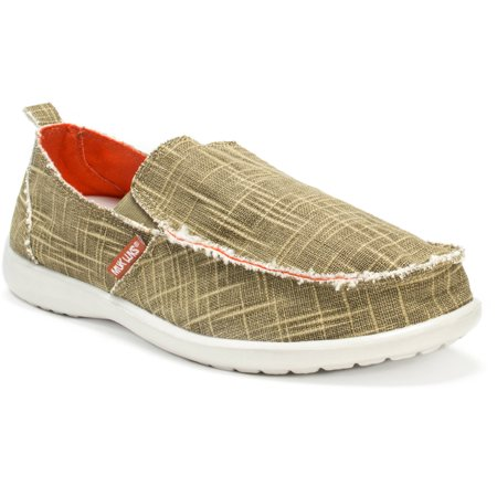 MUK LUKS Men's Andy Shoes MUK LUKS Men's Andy Shoes: Fashionable designComfortable linen canvas shoesOutdoor soleEVA soles for enhanced gripContours to your feet for added comfortSpot clean with a damp clothAvailable in men's whole sizes 9, 10, 11, 12, 13Colors: black, khaki, navyMade in China