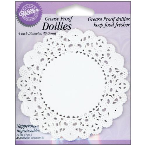 "Grease-Proof Doilies-4"" White Circle 30/Pkg"