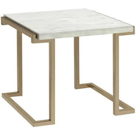 ACME Boice II End Table, Faux Marble and Champagne ()
