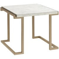 ACME Boice II End Table, Faux Marble and Champagne
