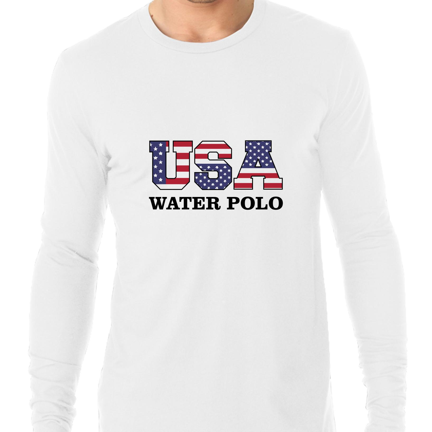 USA Water Polo Olympic Games Rio Flag Men's Long Sleeve T-Shirt by Hollywood Thread