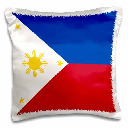 3dRose Flag of the Philippines Filipino blue red white with golden yellow sun and stars Pambansang Watawat, Pillow Case, 16 by 16-inch (Red White And Blue Star)