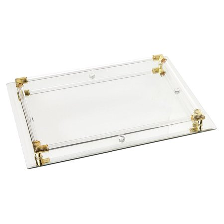 9 x 12 inch Mirror Vanity Tray with Gold Corner Accents ()