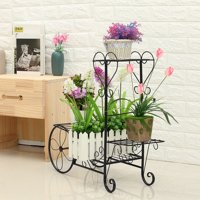 Vintage 4 Layers Metal Plant Stand Display Shelf Flower Planter Pot Holder Organizer European Flower Car Model Solid Indoor Outdoor Patio Home Garden