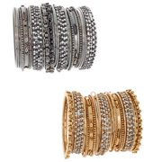 NEXTE Jewelry NEXTE Color-plated Metal Rhinestone 34-piece Stackable Bracelet Set