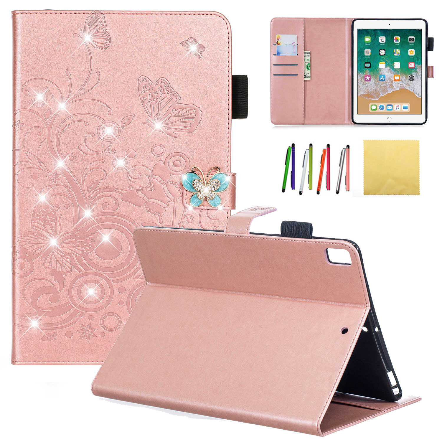 iPad 9.7 2018 &2017 Case, iPad Pro 9.7/ iPad Air 1 2 Wallet Cover, Allytech Emboss Butterfly Dianmond PU Leather Folio Case Stand for iPad 5th & 6th Gen/ iPad Pro 9.7/ iPad Air 1 2, Purple, Rosegold