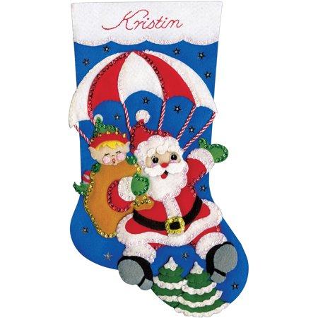 "Design Works Felt Stocking Applique Kit 18"" Long-Skydiving Santa"