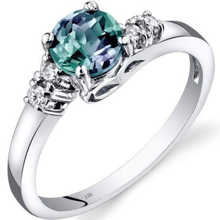 1 Carat T.G.W. Round-Cut Created Alexandrite and Diamond Accent 14kt White Gold Ring Size 7](Purple On Mood Ring)
