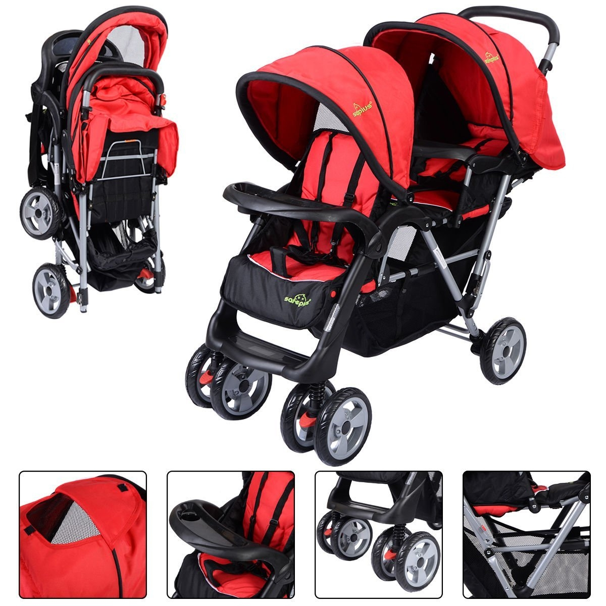 Chicco New For Baby Foldable Twin Baby Double Stroller Kids Jogger Travel Infant Pushchair Red- PUNER Store