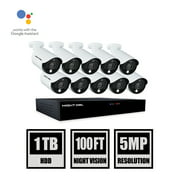 Night Owl 16 Channel DVR, (10) 5MP Wired Spotlight Cameras with 1TB Hard Drive