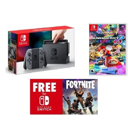Nintendo Switch Gaming Console Bundle with Mario Kart Deluxe 8 and Free Download Nintendo Switch FORNITE BATTLE ROY - Mario Kart Cosplay