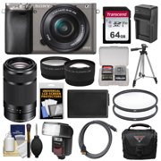 Sony Alpha A6000 Wi-Fi Digital Camera & 16-50mm & 55-210mm Lens with 64GB Card + Case + Flash + Battery/Charger + Tripod Kit