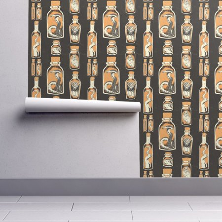 Halloween Dachshund Wallpaper (Removable Water-Activated Wallpaper Taxidermy Jars Snake Bat Rat Halloween)