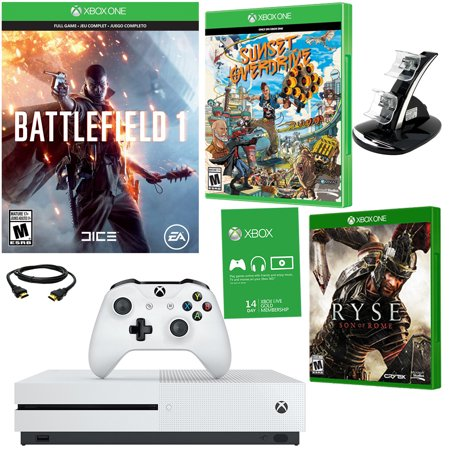 Xbox One S 500GB Battlefield 1 Bundle With Sunset Overdrive, Ryse Son Of Rome and A Dual Dock Charger