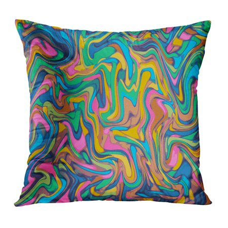 BOSDECO Psychedelic Digital Marbling Abstract Colorful Liquid Paint Abstraction Warm Color Palette Mesh Pillow Case Pillow Cover 20x20 inch - image 1 de 1