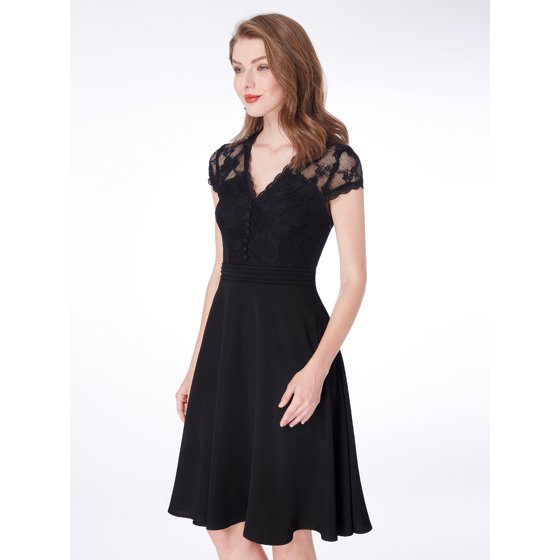 27d8bcd9dbd1 Ever-pretty - Alisa Pan Women's Graceful V-Neck Empire Waist Lace Short  Sleeve Little Black Dress for Mother's Day Gift 04032 - Walmart.com