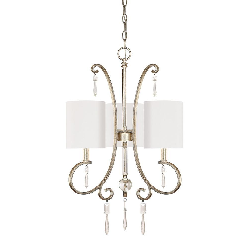 Capital Lighting Simone Winter Gold 3 Light Chandelier with Crystals Included