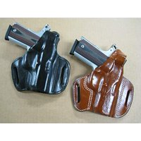 Azula Gun Holsters Leather 2 Slot Molded Thumb Break Pancake Leather Pistol Holster for Glock 19, 19X, 45, 23, 32 Black RH
