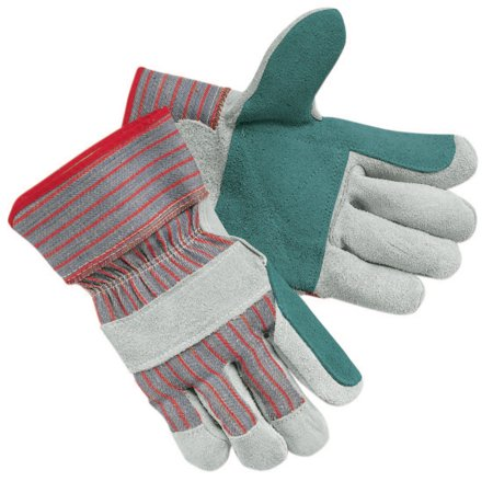 Memphis Glove Industrial Standard Shoulder Split Gloves, Large, Leather, Gray w/Red Stripes