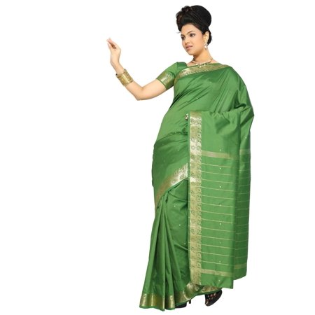Forest Green Art Silk Saree Sari fabric India Golden Border