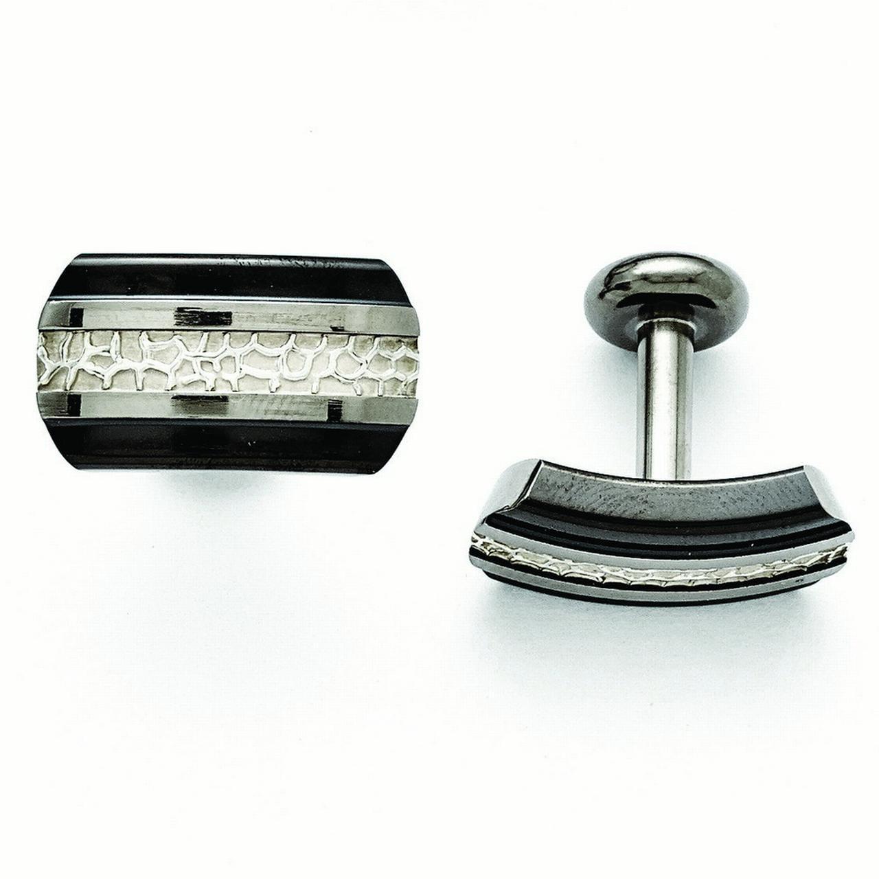 Titanium Black Ti Sterling Silver Polished Cuff Links