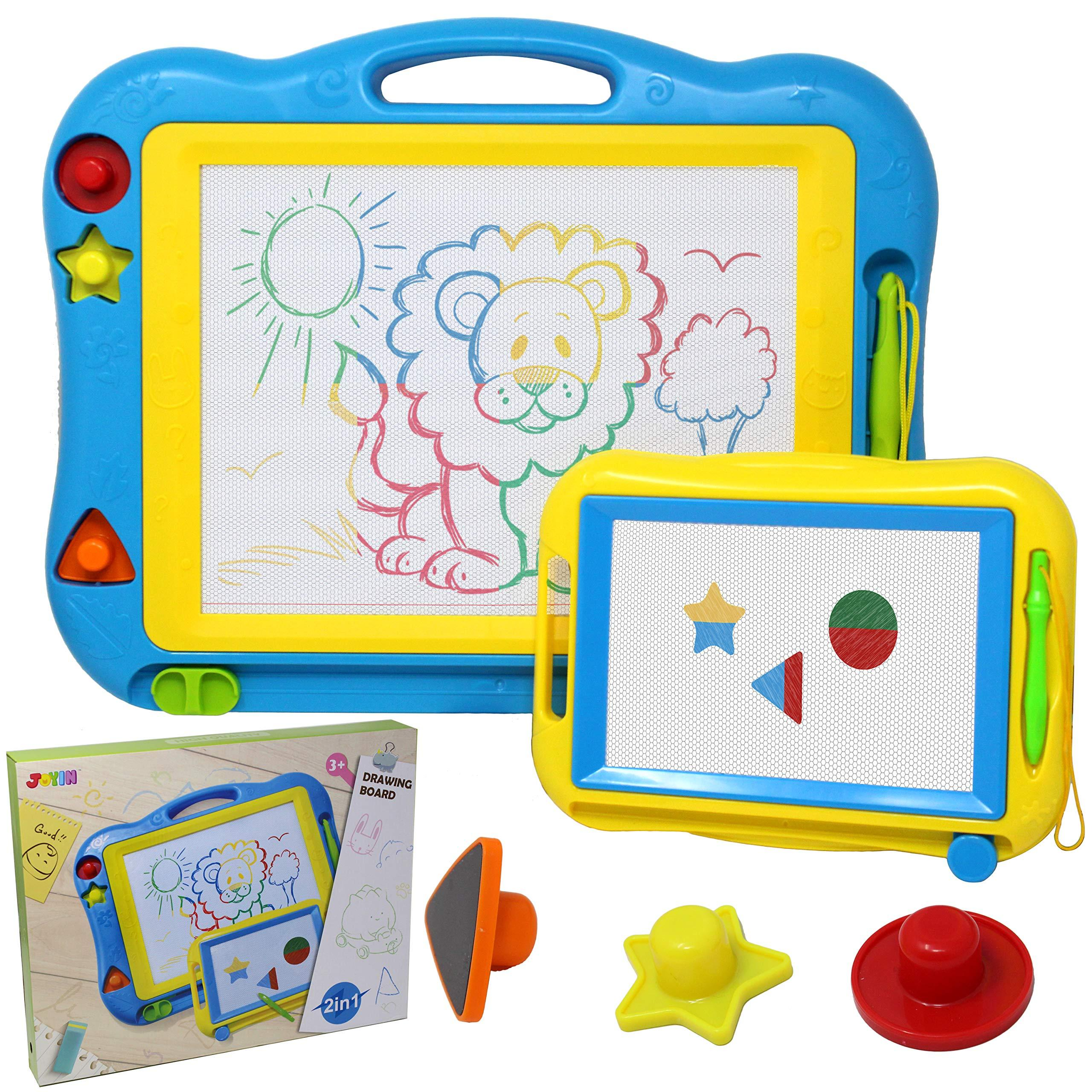 Blue Colorful Erasable Magna Doodle with Stamps Writing Painting Sketch Pad for Toddler Birthday Gift Idea Misscat Large Magnetic Drawing Board for Kids